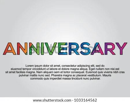 Anniversary Word Creative Design Concept Modern Stock Vector