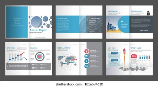 Annual Report Company Profile Advertising Agency Stock Photo (Photo