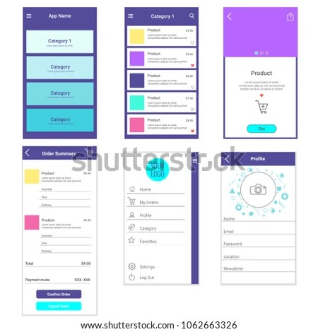 Application Mobile Template Ecommerce Page List Stock Vector