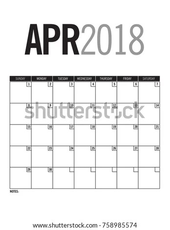 April 2018 Blank Calendar Page Dates Stock Vector (Royalty Free