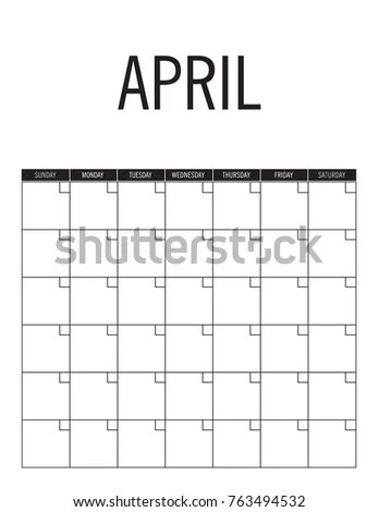 April Blank Calendar Page No Dates Stock Vector (Royalty Free