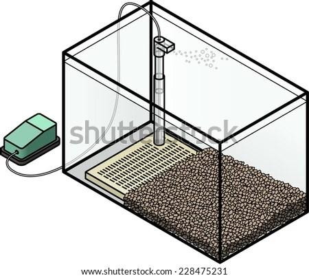 Aquarium Filter Undergravel Filter Powered By Stock Vector (Royalty
