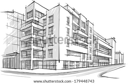 Architecture Sketch Drawing Building City Stock Vector (Royalty Free