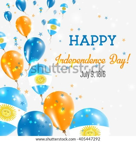 Argentina Independence Day Greeting Card Flying Stock Vector