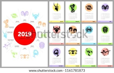 Astrology Calendar 2019 Horoscope Signs Zodiac Stock Vector (Royalty
