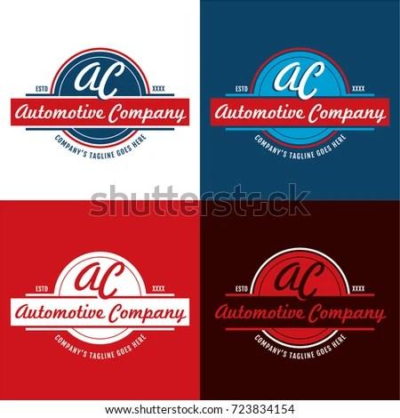 Automotive Company Vector Illustration Timeless Badge Stock Vector