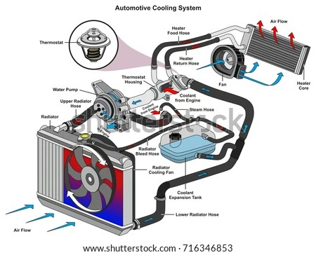 Automotive Cooling System Infographic Diagram Showing Stock Vector
