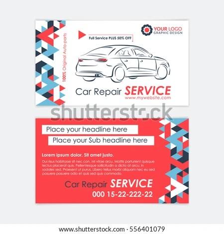 Automotive Service Business Card Template Car Stock Vector (Royalty