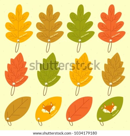 Autumn Leaves Different Shapes Bookmark Template Stock Vector