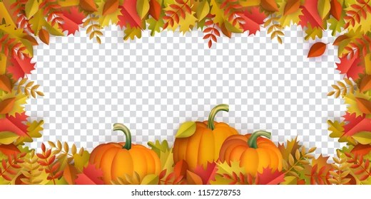 Autumn Leaves Pumpkins Border Frame Space Stock Vector (Royalty Free