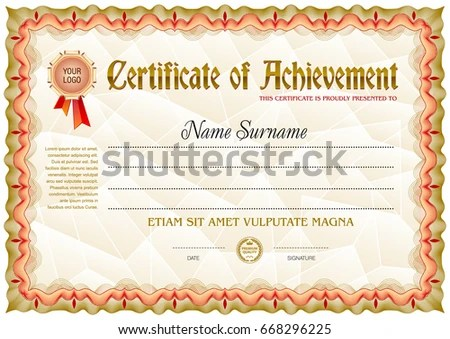 Award Certificate Blank Template Vintage Frame Stock Vector (Royalty