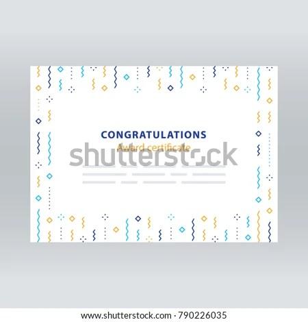 Award Certificate Border Falling Confetti Pattern Stock Vector