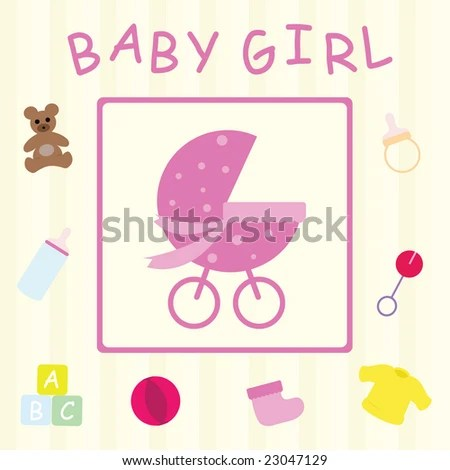 Baby Girl Congratulations Card Stock Vector (Royalty Free) 23047129