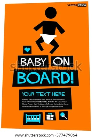 Baby On Board Flat Style Vector Stock Vector (Royalty Free