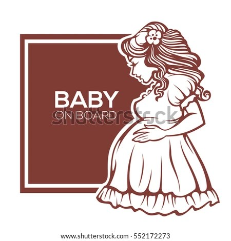 Baby On Board Happy Beautiful Pregnant Stock Vector (Royalty Free