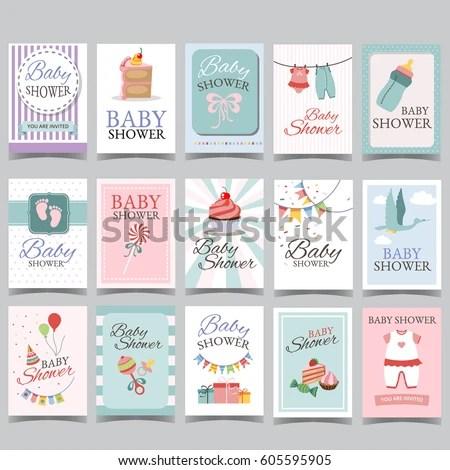Baby Shower Card Set Boy Girl Stock Vector (Royalty Free) 605595905