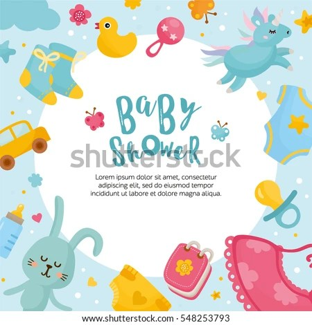Baby Shower Card Template Round Frame Stock Vector (Royalty Free