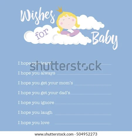 BABY SHOWER CARD Template Wishes Baby Stock Vector (Royalty Free
