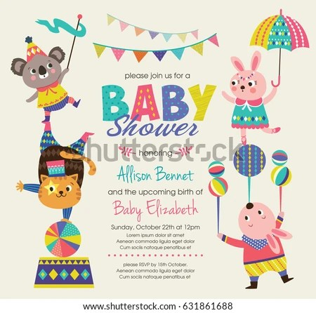 Baby Shower Invitation Card Circus Theme Stock Vector (Royalty Free