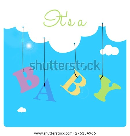 Baby Shower Invitation Card Colored Letters Stock Vector (Royalty