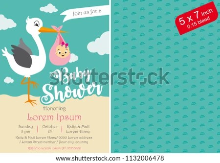 Baby Shower Invitation Baby Shower Printable Stock Vector (Royalty
