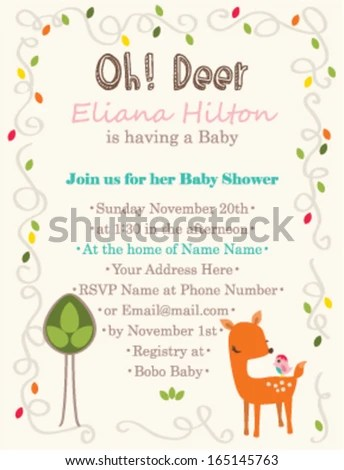Baby Shower Invitation Template Oh Deer Stock Vector (Royalty Free