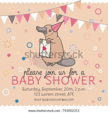 Baby Shower Invitation Template Platypus Letter Stock Vector