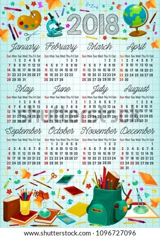 Back School Calendar Template On Squared Stock Vector (Royalty Free