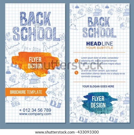 Back School Flyer Template Different Objects Stock Vector (Royalty