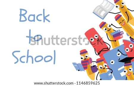 Back School Poster Template Cute Pencil Stock Vector (Royalty Free