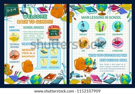 Back School Poster Template School Supplies Stock Vector (Royalty