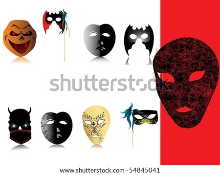 Background Collection Halloween Designer Mask Stock Vector (Royalty