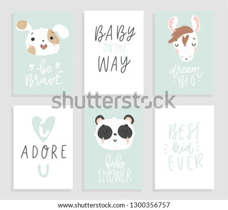 Backgrounds Cute Animals Hand Drawn Lattering Stock Vector (Royalty