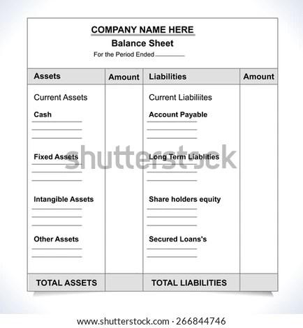 Balance Sheet Format Unfill Paper Balance Stock Vector (Royalty Free