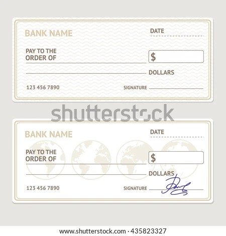 Bank Check Template Set Blank Form Stock Vector (Royalty Free