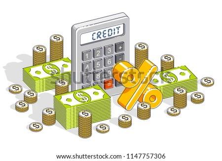 Bank Credit Loan Mortgage Concept Calculator Stock Vector (Royalty