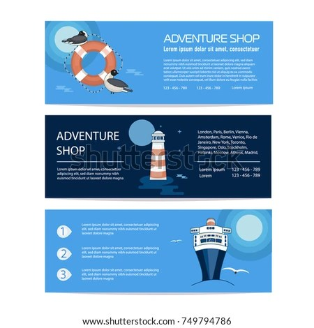 Banner Flyer Template Selling Journey Marine Stock Vector (Royalty