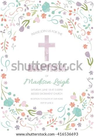 Baptism Christening First Communion Invite Template Stock Vector