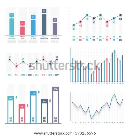 Bar Graph Line Graph Templates Business Stock Vector (Royalty Free