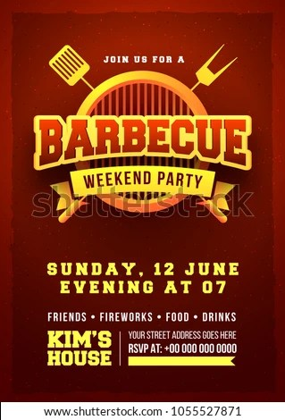 Barbecue Poster Flyer Template Invitation Design Stock Vector