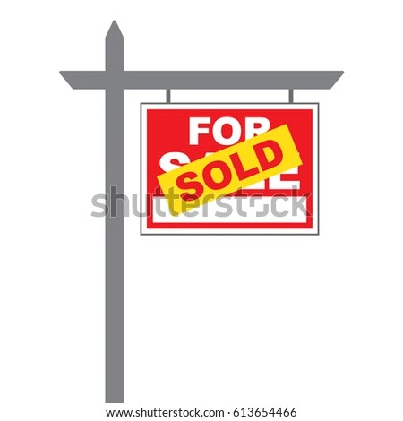 Basic Sale Sign Sold Label Pasted Stock Vector (Royalty Free