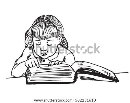 Beautiful Baby Girl Reading Big Book Stock Vector (Royalty Free