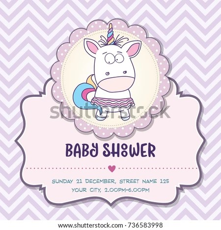 Beautiful Baby Shower Card Template Lovely Stock Vector (Royalty