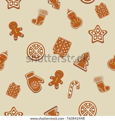 Beautiful Christmas Cookie Icons Template Seamless Stock Vector