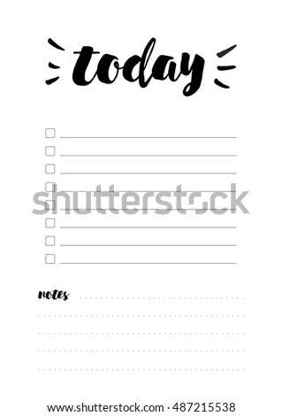 Beautiful Daily Planner Vector Template Printable Stock Vector