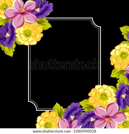 Beautiful Floral Frame On Black Background Stock Vector (Royalty
