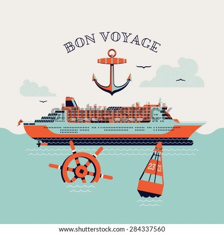 Beautiful Four Colored Bon Voyage Printable Stock Vector (Royalty