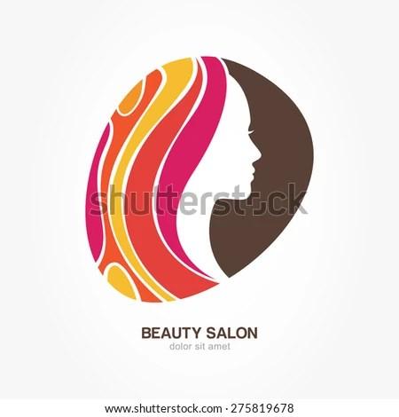 Beautiful Womans Profile Face Creative Multicolor Stock Vector