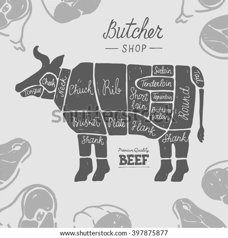 Beef Meat Cuts Diagram Butcher Chart Stock Vector (Royalty Free