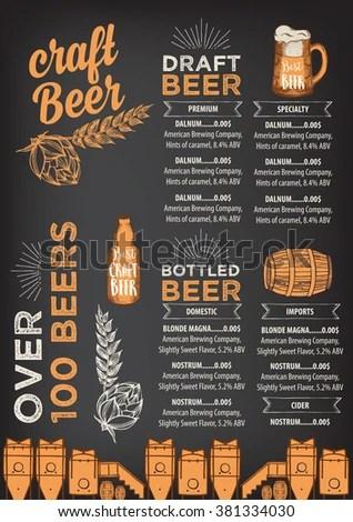 Beer Restaurant Brochure Vector Alcohol Menu Stock Vector (Royalty